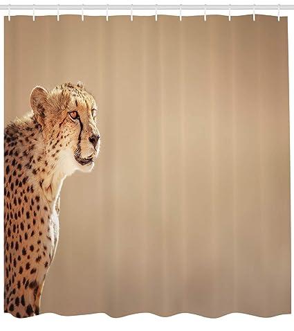 Dongingp Cheetah Shower Curtain South African Fauna Young Wild Animal Photo Taken In Kalahari Desert