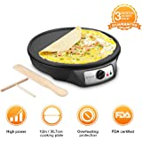 "Electric Crepe Maker, iSiLER 12"" Electric Nonstick Crepe Pan, 1080W Electric Pancakes Maker Griddle with Batter Spreader & Wooden Spatula, Precise Temperature Control for Roti, Tortilla, Eggs, Bacon"