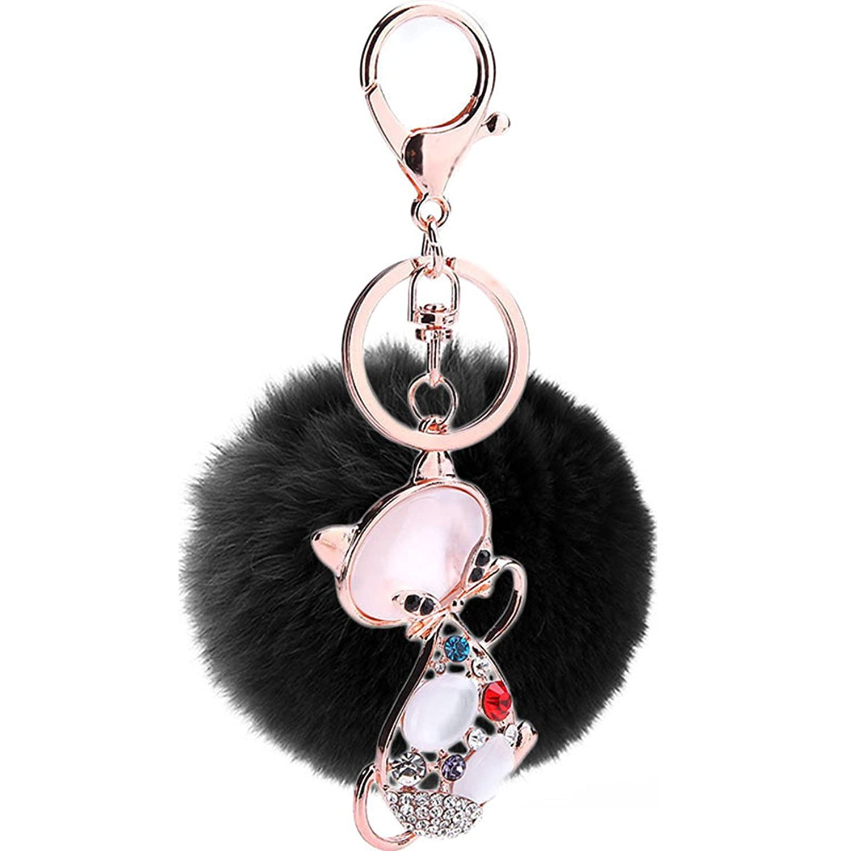 MENGDA Cute Cat Pom Car Fur Women Key Holder Ring Animal Keychains (Black)