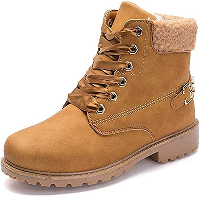 Bottes Hiver Femme Boots Fourr/ées Chaudes /à Enfiler Femmes Mi Botte Neige Bottine Daim Noir Marron Gris Kaki EU 35-43