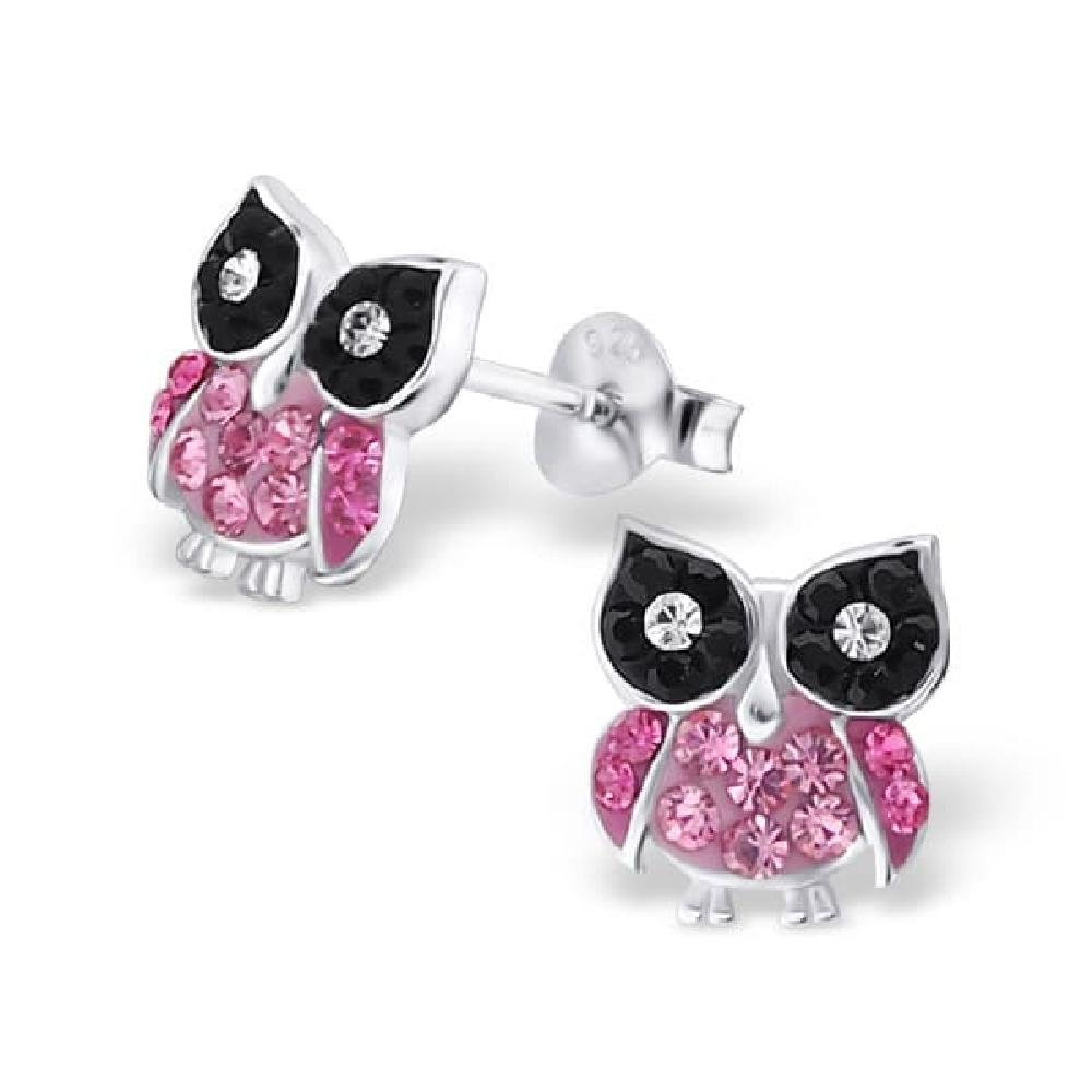 So Chic Jewels Childrens 925 Sterling Silver Owl Ear Studs with Crystal