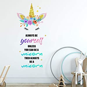 Sionoiur Unicorn Wall Decals Removable Wall Decor Always Be A Unicorn Colorful Quotes Vinyl Stickers Mural Home Decor Bedroom Nursery Birthday Party Christmas Gift for Girls Kids