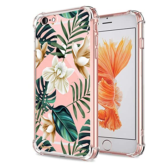 size 40 58003 f1e71 iPhone 6S Plus Case, Crystal Clear with Floral Design Cute Tropical Flowers  Palm Texture Bumper Protective Case for Apple iPhone 6 6S Plus 5.5 Inch ...