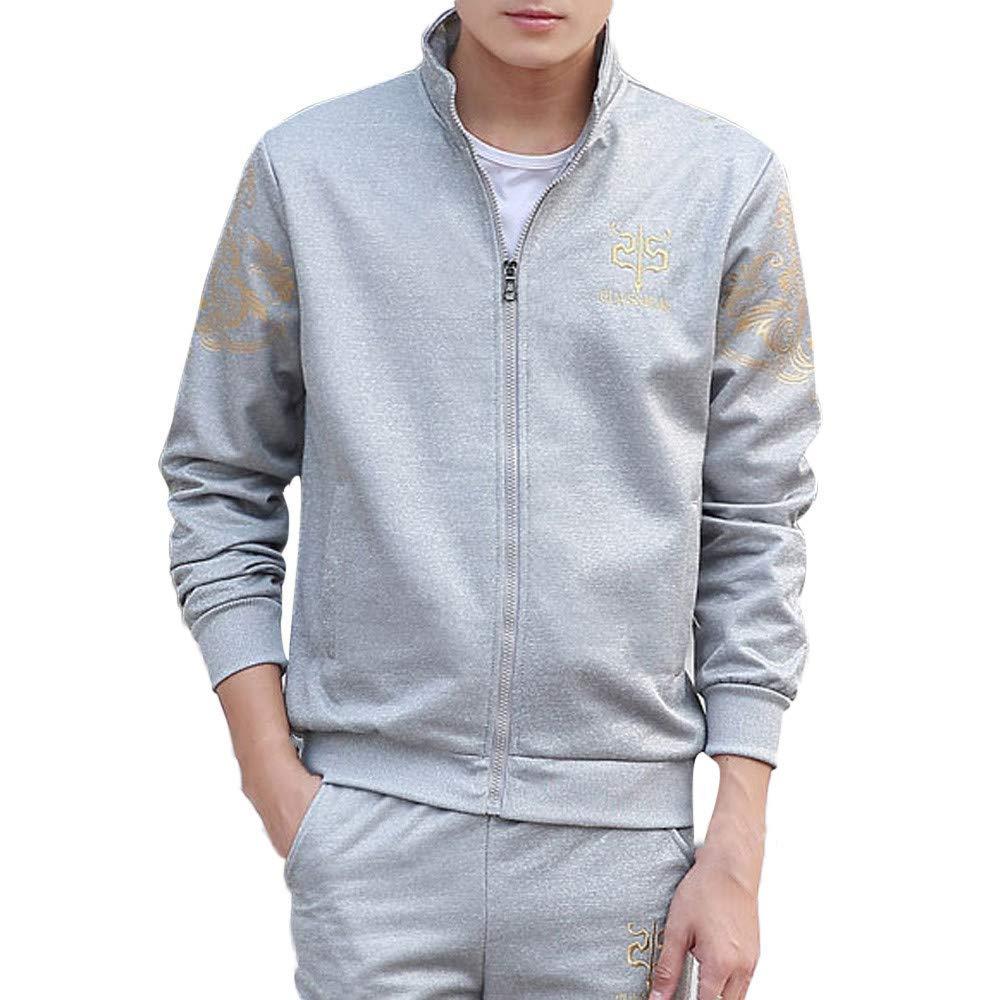 Upper Outer Garment Mens Autumn Winter Thicken Sweatshirt Top Pants Fashion Sets Sport Suit Fashion Tracksuit Wild Tight for Men Color : Grau, Size : XXL