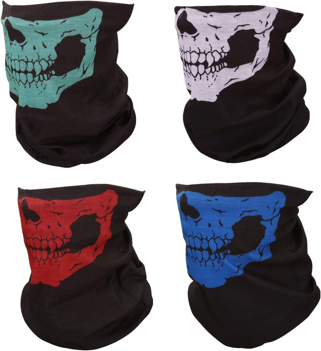 Chic Diary 4 Stück Multifunktionstücher Gesichtsschutz Tuch Motorrad Fahrrad Sturmmaske Buntes Halstuch Kopftuch Damen Herren Auto