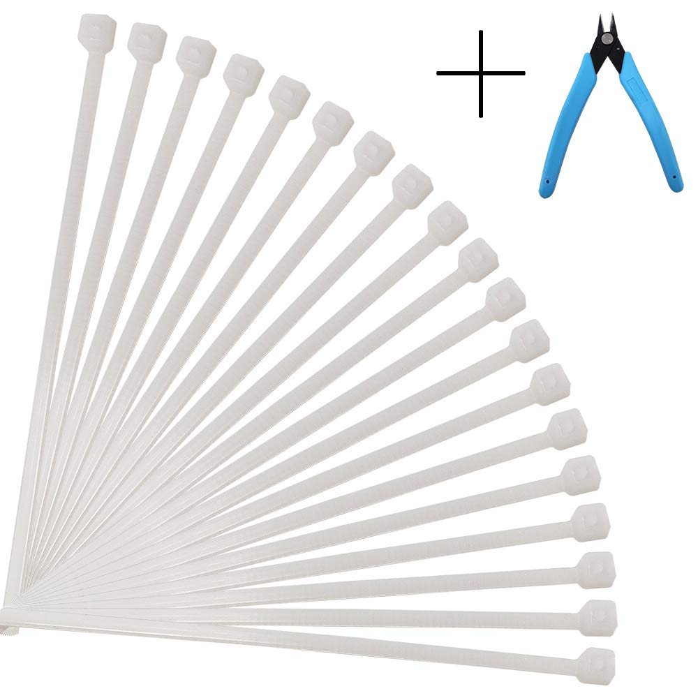 Beam Nier Multi-Purpose Cable Ties Nylon Cable Ties 100 Indoor and Outdoor UV Protection 12 White 12 White
