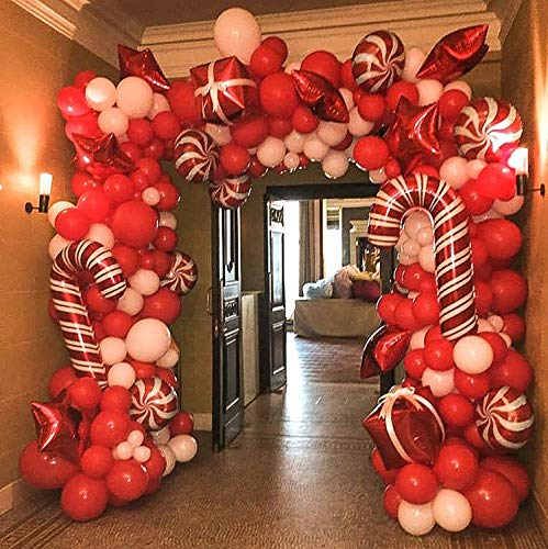 BONROPIN Christmas Balloon Garland Arch kit 144 Pieces with Christmas Red White Candy Balloons Gift Box Balloons Red Star Balloons for Christmas Party Decorations