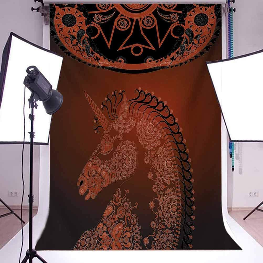 Unicorn Profile with Exotic Laced Design Details Design Art Background for Baby Shower Birthday Wedding Bridal Shower Party Decoration Photo Studio Burgundy Unicorn 10x12 FT Photography Backdrop