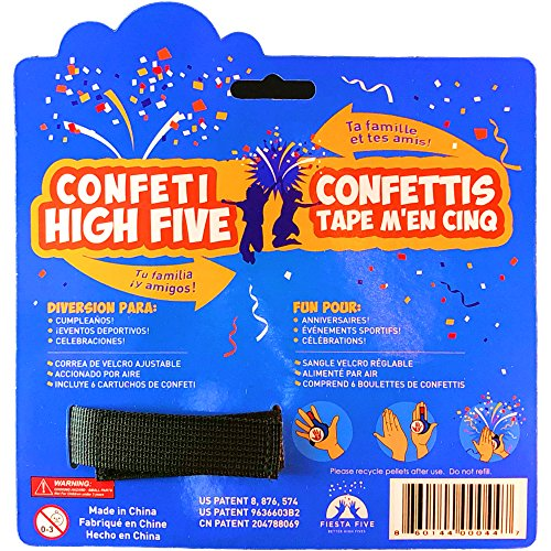 61lMheTgKJL - FiestaFive - Confetti High Five HandHeld Toy Shooter with 6 Refills - Blast Confetti From Your Hands, Reloadable, Patented Perfect High Five Design, Safe Air Powered Party Favor - Red/White/Blue