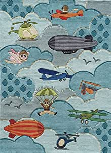 Momeni Rugs LMOJULMJ10SKY80A0 Lil' Mo Whimsy Collection, Kids Themed Hand Carved & Tufted Area Rug, 8' x 10', Sky Blue