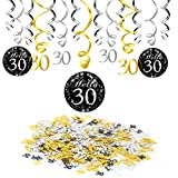 30th Birthday Decoration, Konsait 30th Birthday Hanging Swirl (15 Counts), Happy Birthday & 30 Table Confetti (1.05oz) Black Hanging Swirl Ceiling Decor Table Decor for Birthday Party Decorations