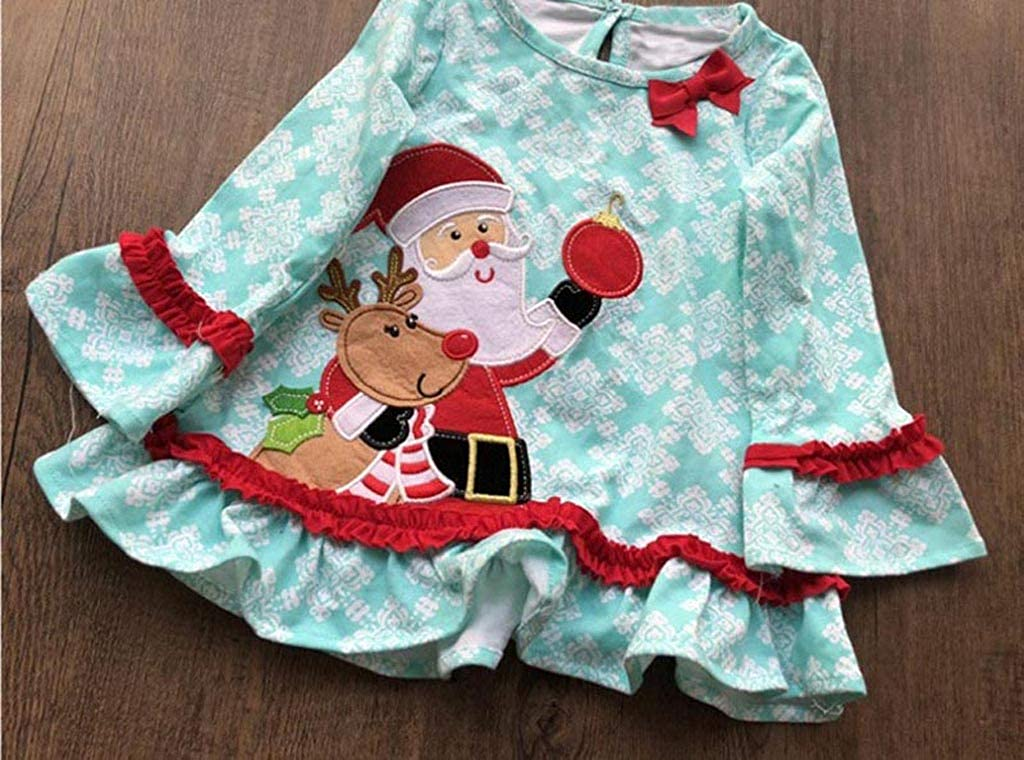 KONFA Toddler Kids Baby Girls 2Pcs Outfits Xmas Clothes,Christmas Santa Claus Dress+Striped Pants Sets