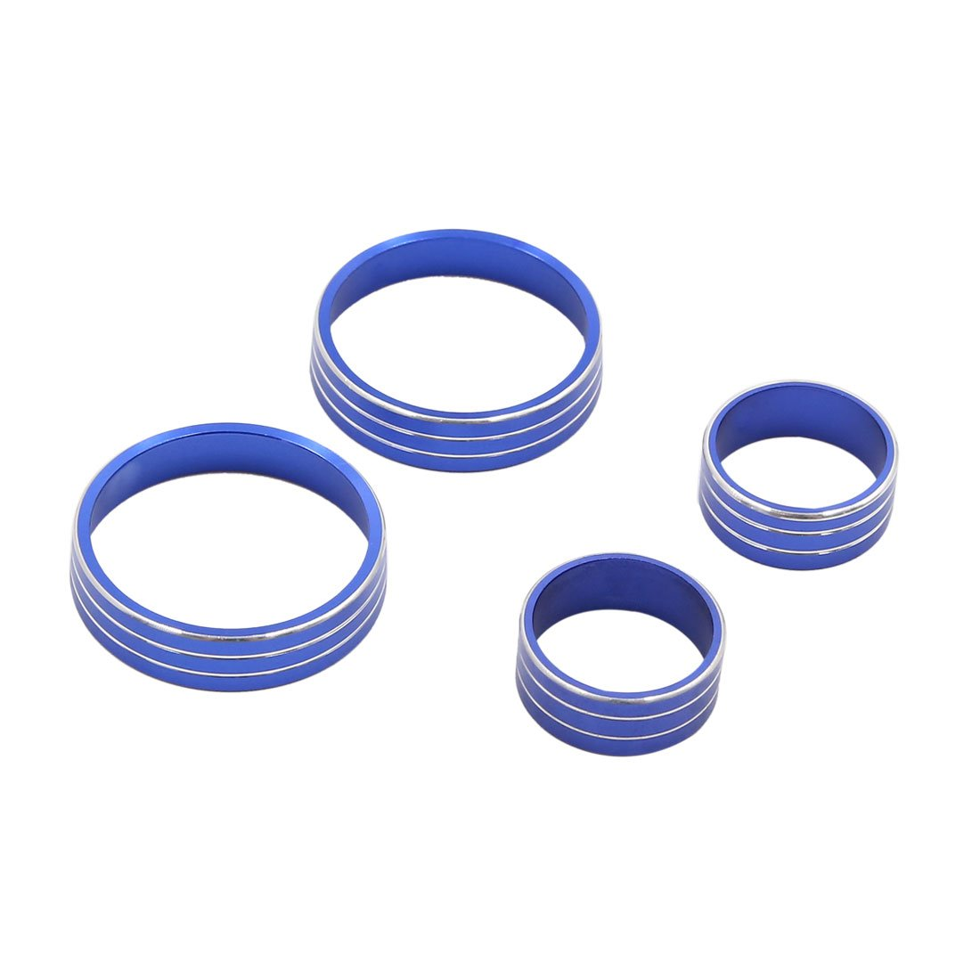 uxcell 4pcs Blue Air Condition Switch Audio Button Decorative Ring Set for Kia KX5