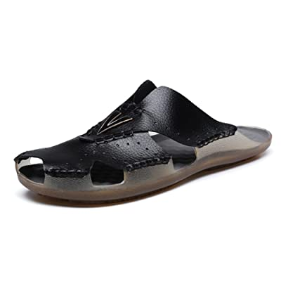 Amazon.com | AIRIKE Men Casual Leather Beach Sandals Flat Slip-ONS Slippers Non-Slip Closed Toe Outdoor Summer Shoes with Big Size | Sandals