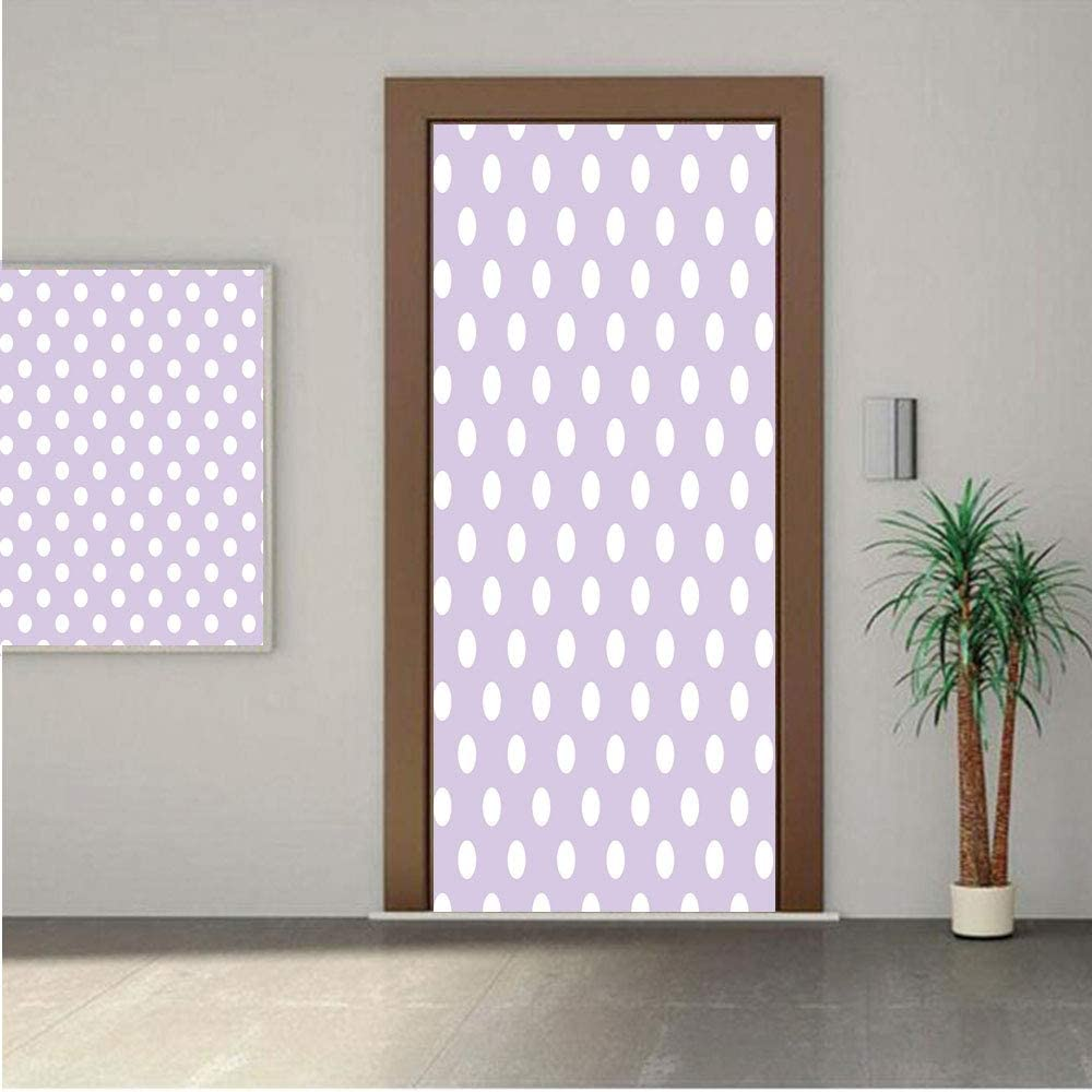 Ylljy00 Lavender Premium Stickers for Door/Wall/Fridge Home DecorBig White Polka Dots on Pastel Colored Background Retro Style Pattern Print Decorative 24x80 ONE Piece Sticky Mural,Decal,Cover,Skin