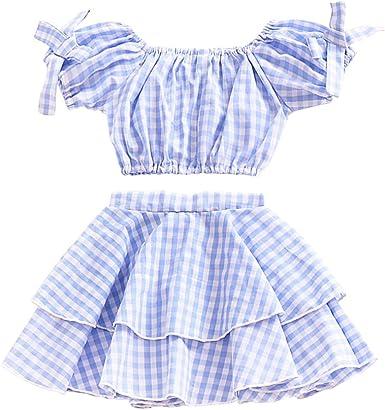 Brightup Verano Bebé Niños niña Azul Enrejado Arco Manga Corta ...