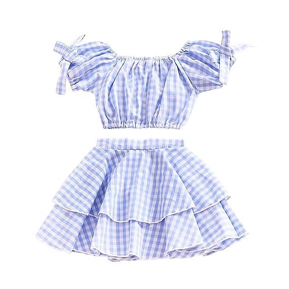 Brightup Verano Bebé Niños niña azul enrejado arco manga corta blusa + falda plisada de la torta 2pcs conjunto por 6 meses-4 años: Amazon.es: Ropa y ...