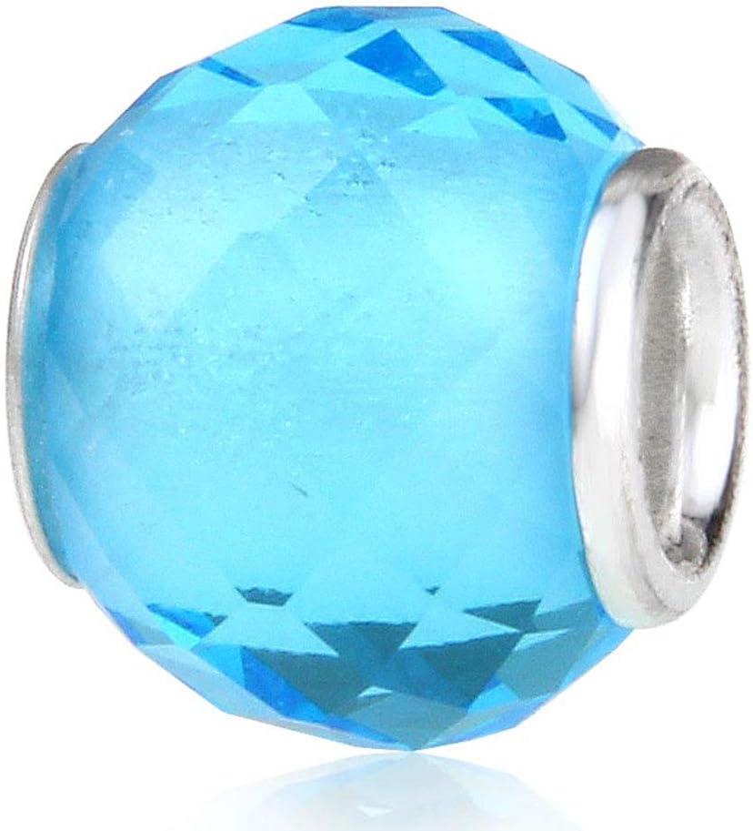 Abalorio de cristal de Murano para pulsera Pandora, con piedra natal de plata de ley 925 azul claro