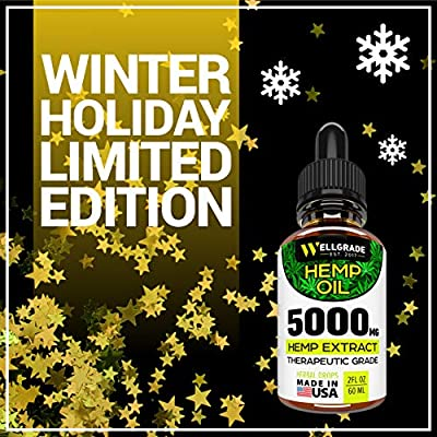 Hemp Oil for Pain & Anxiety Relief – 5000 MG – Premium Seed Grade – Natural Hemp Oil for Better Sleep, Mood & Stress – Pure Hemp Extract – Vitamins & Fatty Acids – Made in USA by Wellgrade est.2017