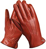 ELMA Winter Leather Gloves for Men - Mens Cashmere/Fleece Lined Glove for Motorcycle Driving Riding Black Brown