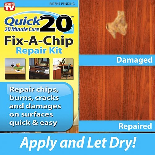 Quick 20 Fix-A-Chip Repair kit repairs chips, burns, cracks, holes and damages on surfaces quick and easy. Use on countertops, desks, chairs, wood paneling, tables, chairs, dressers, walls, book cases. (Dresser Repair Kits compare prices)
