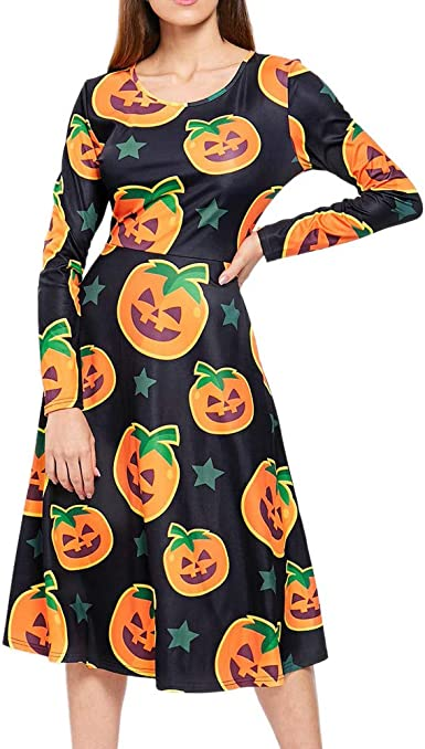 WINWINTOM Vestidos de Casual Mujer Halloween Fiesta Manga Larga Cuello en O Retro Elegante Calabaza Estampado Sección Corto Camiseta Falda Vestido de Noche de Coctel ...