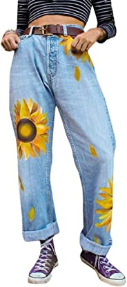 Manooby Womens Chic Floral Printed Soft Denim Jeans Long High-Rise Curvy Loose Pants.(S-3XL)
