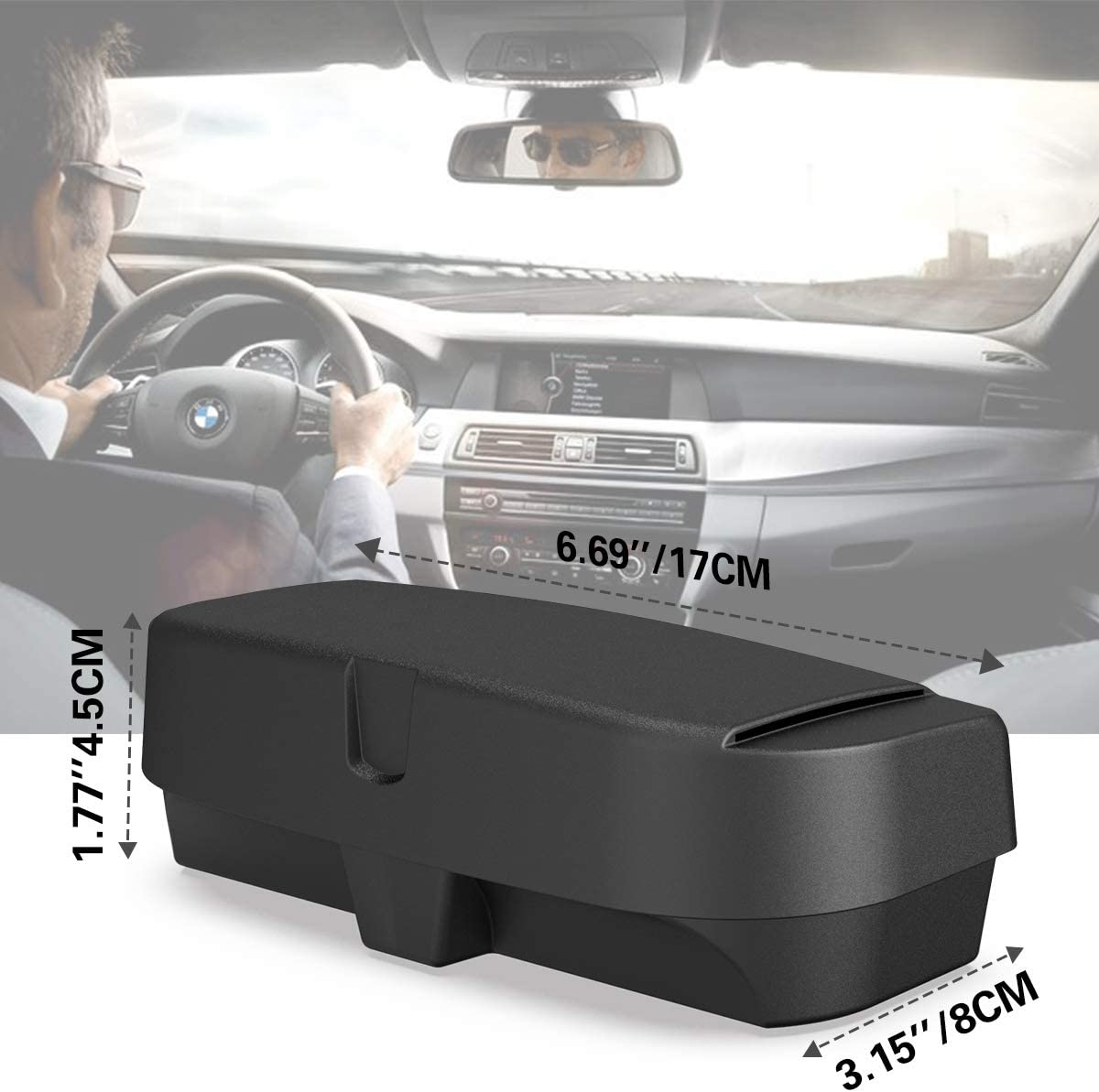 MoKo Car Glasses Case Sunglasses Box Visor Accessories Universial Glasses Organiser for Car Sun Visor Sunglasses Holder ABS Case Dustproof Storage Organizer Mount with Ticket Card Clip Gray