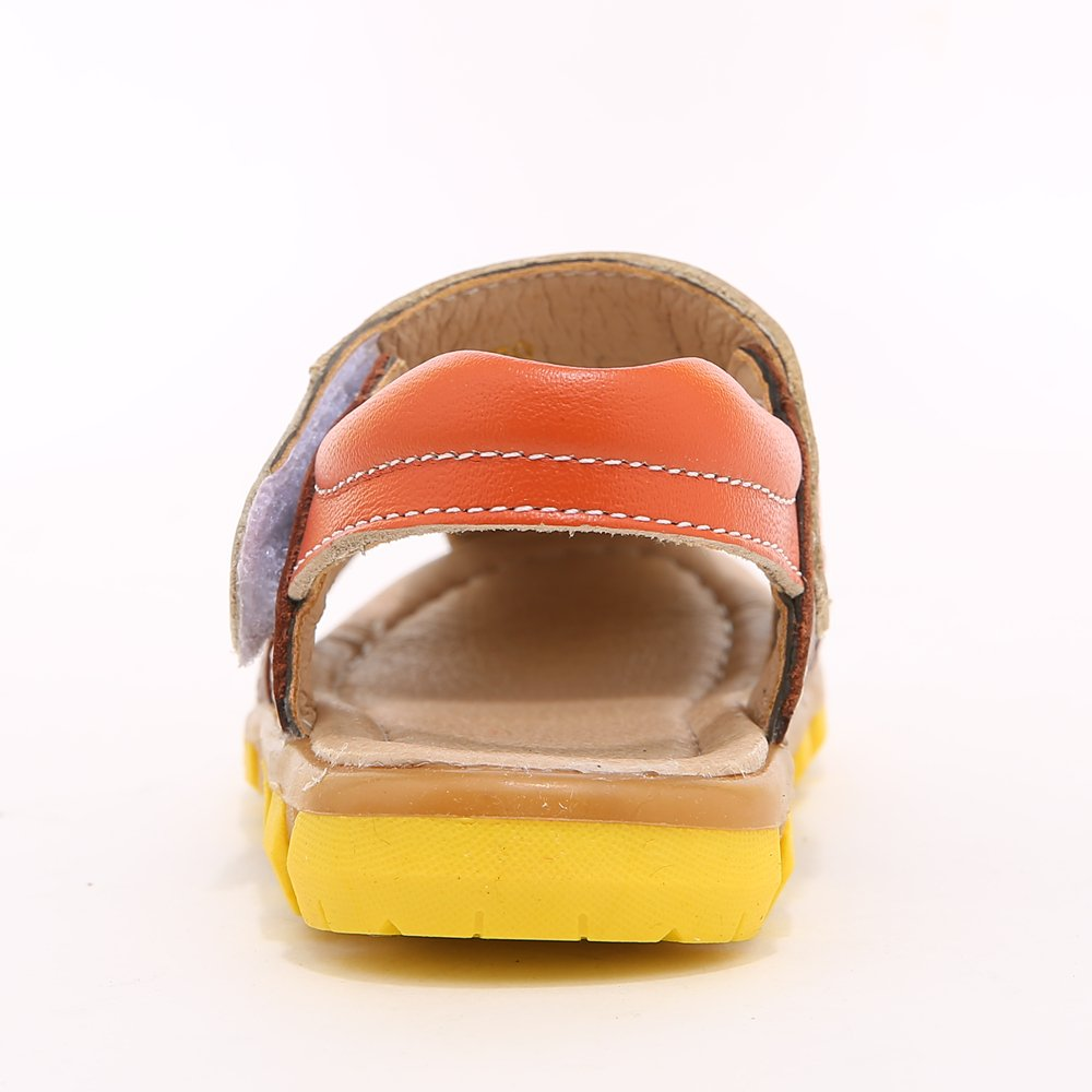 HOBIBEAR Boy's Girl' Brown/Orange Closed-Toe Leather Sport Sandal(Toddler/Little Kid) by HOBIBEAR (Image #4)