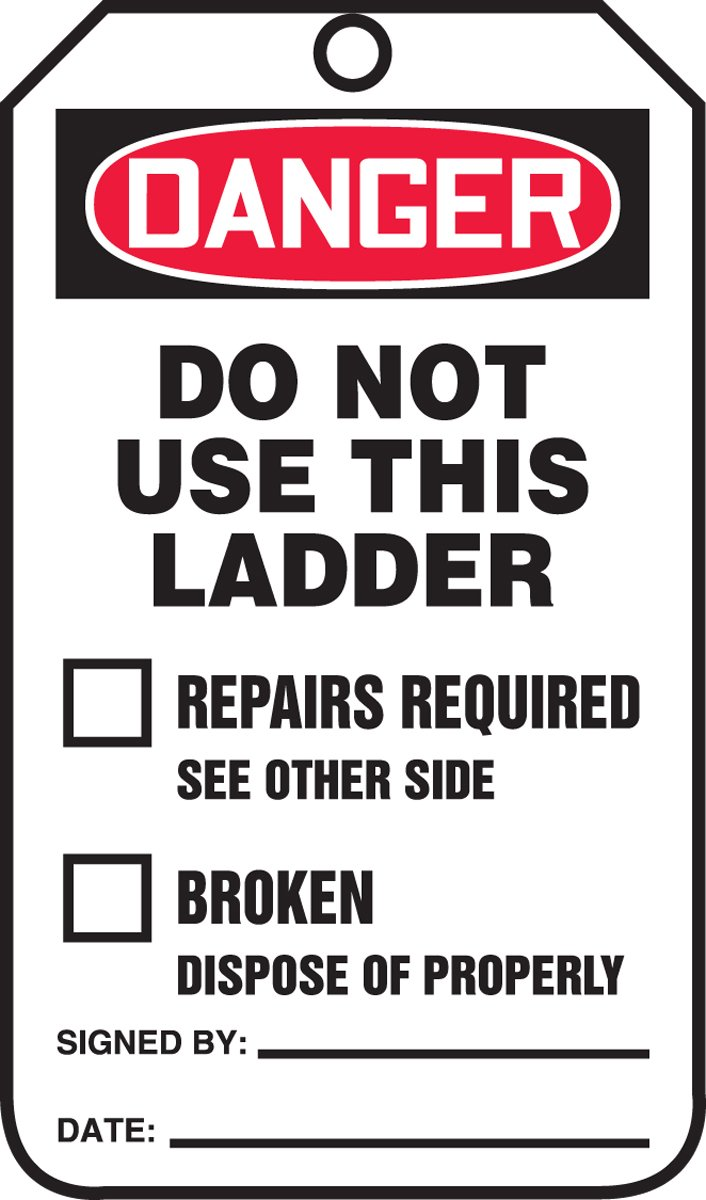 Accuform Signs TRS331CTP Ladder Status Tag, Legend''DANGER DO NOT USE THIS LADDER'', 5.75'' Length x 3.25'' Width x 0.010'' Thickness, PF-Cardstock, Red/Black on White (Pack of 25)