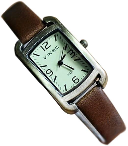 cocotina® 2015 moda vestido de las mujeres relojes Retro reloj de alta calidad de piel color vaquero Wavy aguja cuarzo reloj de pulsera Café: Amazon.es: ...