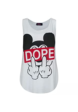 0e434e2c17ef LCL   Womens Dope Slogan Mickey Mouse Finger Printed Stretch Fit Ladies Round  Scoop Neckline Sleeveless