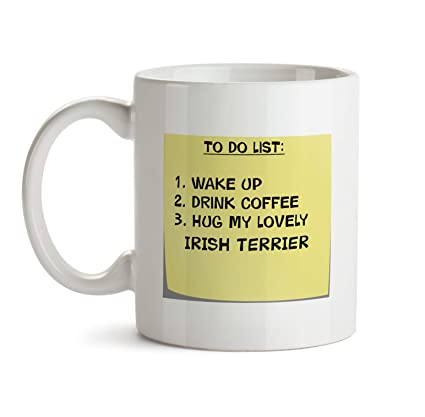 irish terrier dog mug aa48 to do list post it note puppy lover owner funny