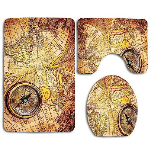 huachuangxinlHUQ Antique Compass On an Ancient World Map Historic Borders Century-Old Antiquity 3 Piece Bathroom Rug Set Non-Slip Bath Mat Contour Rug Toilet Lid Cover Home Decorative -