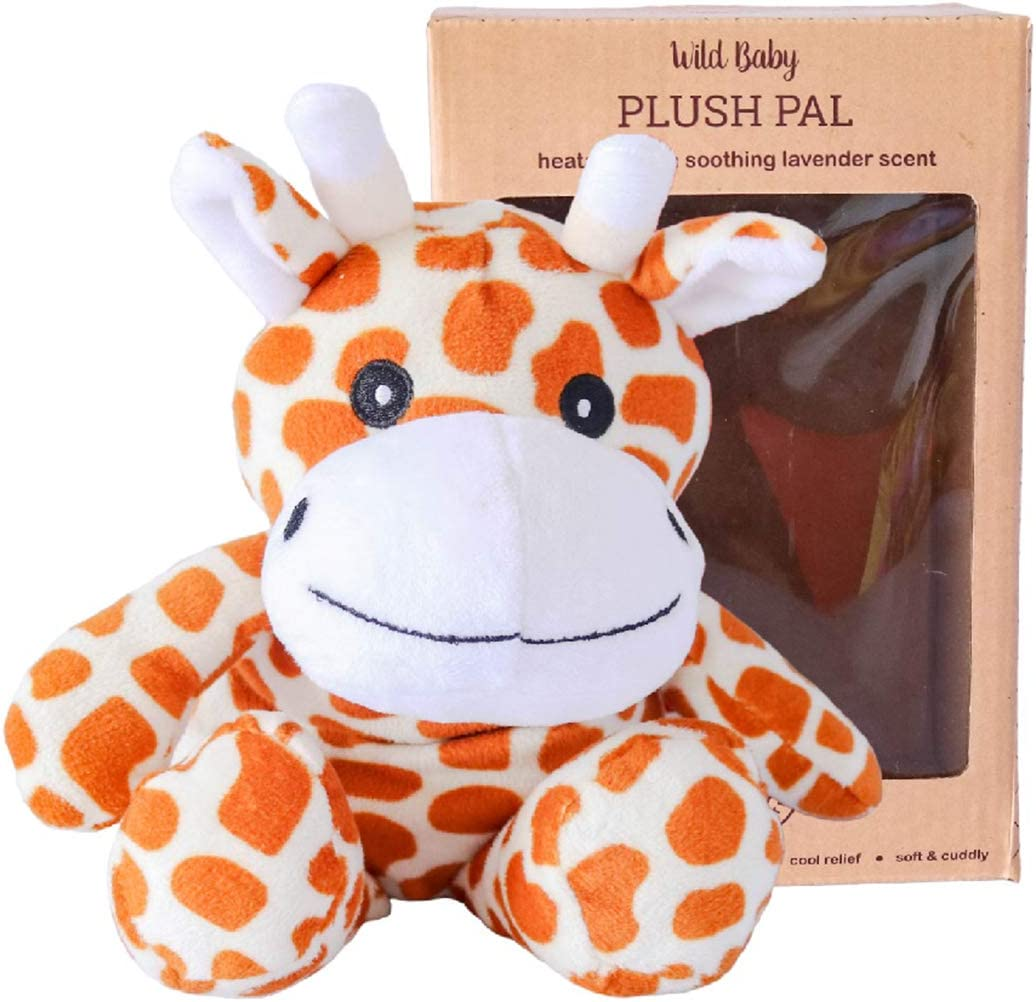 """WILD BABY Microwavable Plush Pal - Cozy Heatable Weighted Stuffed Animal with Aromatherapy Lavender Scent, 10"""" Giraffe"""
