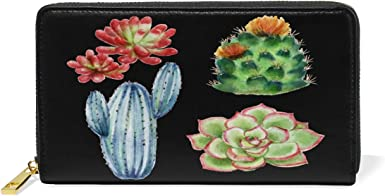 Art Cactus Flower Succulent Wallet for Women Leather Zipper Phone Coin Purse