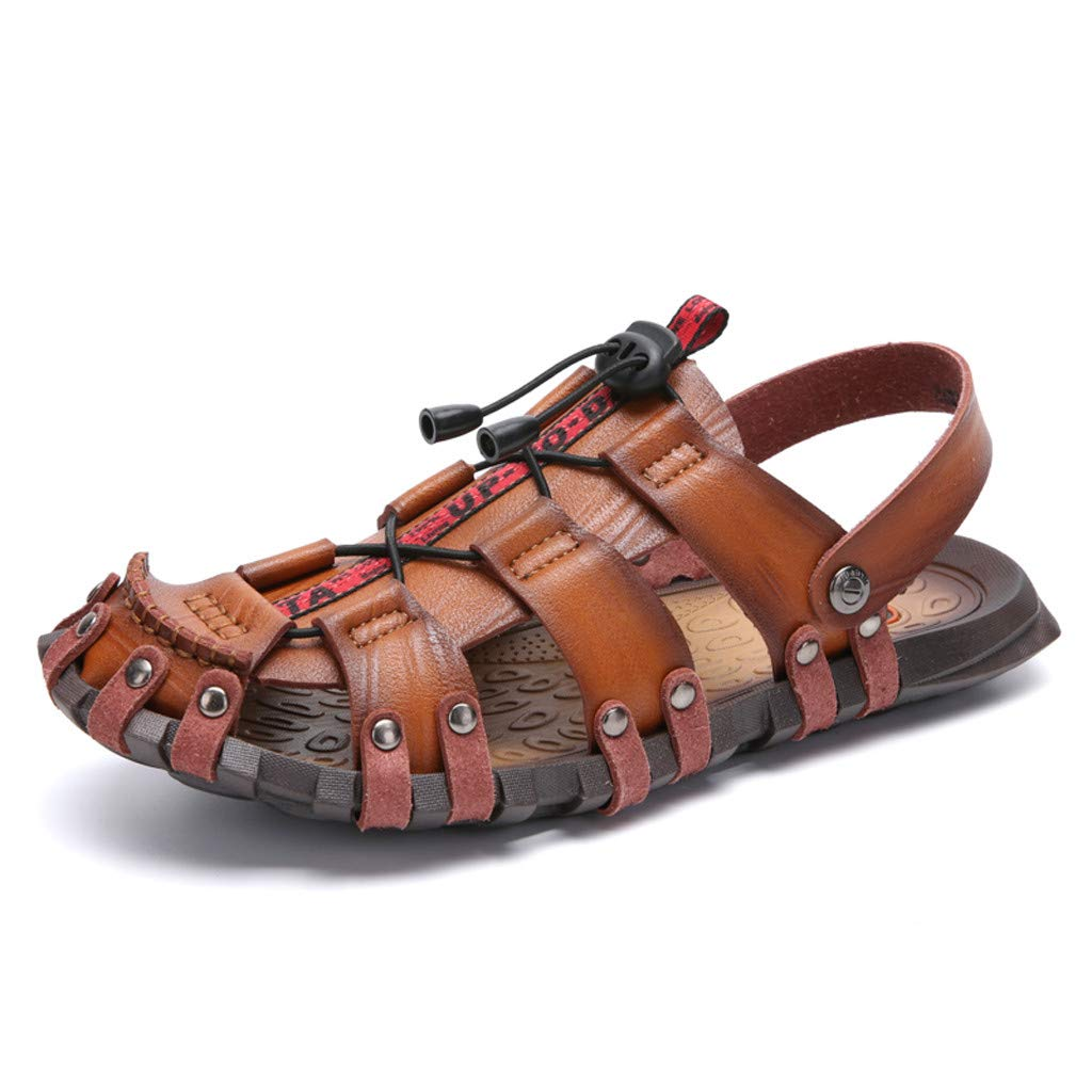 Anglewolf Mens Sports Outdoor Sandals Summer Breathable Beach Shoes Leather Casual Walking Closed-Toe Non Slip Hiking Trekking Sneakers