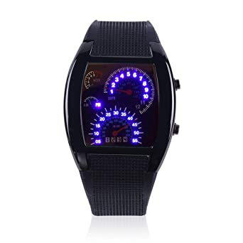 Mens Sports RPM Aviación Turbo Blue Flash LED Sports Car Meter Dial Flash LED Reloj de Pulsera Sports Car Meter Regalo: Amazon.es: Relojes