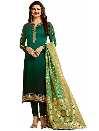 5d9d9fbaf9 Kassesh Georgette Women's Salwar Suit with Banarasi Dupatta (Vinay-6903,  Green, Free Size): Amazon.in: Clothing & Accessories