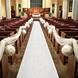 Arts & Crafts : Healon Wedding Aisle Runner 100 x 3 ft White Aisle Runner with Print Aisle Runner for Wedding,Ceremony and Party with Pull String
