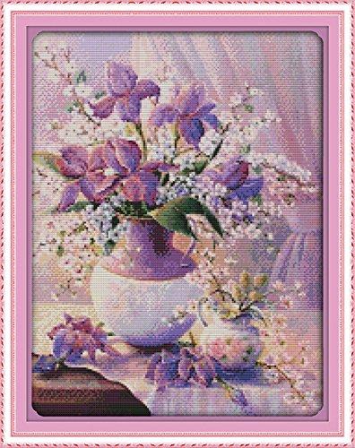 (Cross stitch kits for flower - Eafior DIY Handmade Needlework Embroidery Kits flower pattern printed design Home Decoration Wall Decor 46×59cm(No)