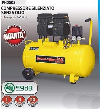Compresor 50 LT silenciado en seco Italy 8 Bar 1,5 HP Italy 2 Conectores 2 manómetros pistón teflón Sin aceite: Amazon.es: Bricolaje y herramientas