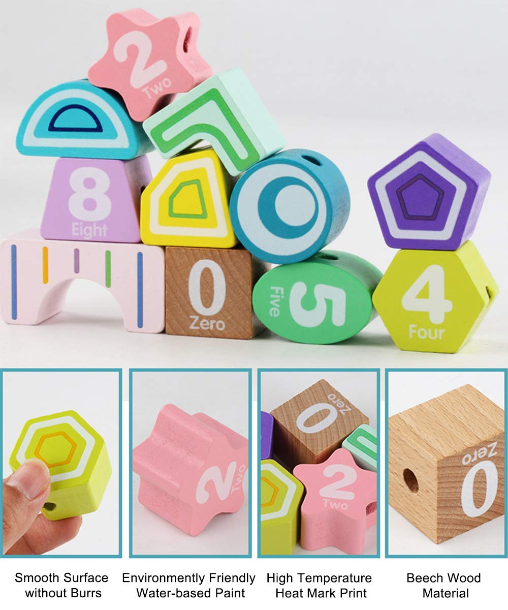 SUPOW Multi-Purpose Educational Toys Multi-Hole Cognitive Shape Matching String Beads Building Blocks Toy Geometric Blocks paired Toys for Preschool Toddlers