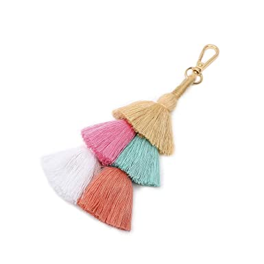 Boho Women Colorful Tassel Key Chain Handbag Accessories Car Keyring Purse Decor Bag Parts & Accessories