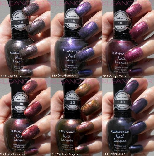 NEW KLEANCOLOR 3D DUOCHROME NAIL POLISH LOT OF 6 LACQUER THE CHROMATIC ERA KNP17 + FREE EARRING by - Lacquer Shades Nail