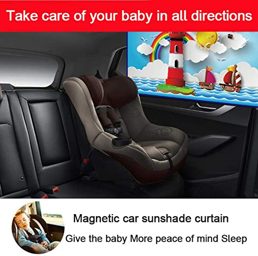 LZJX Car Window Cover Sunshade Curtain Magnetic UV Protection Shield Summer Baby Sun Shade Auto Visor Parasol Solar Protection Automobiles Accessories