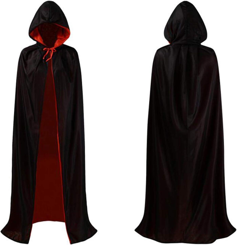 Adults Gothic Black Velvet Hooded Cloak Halloween Witch Fancy Dress Costume Vamp
