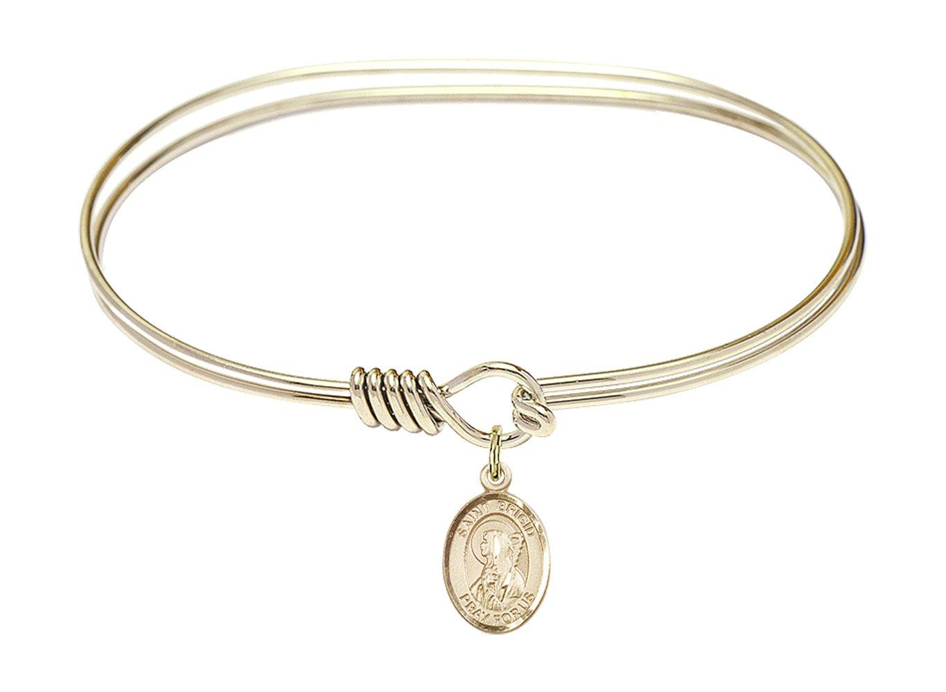 7 inch Oval Eye Hook Bangle Bracelet w/St. Brigid of Ireland in Gold-Filled