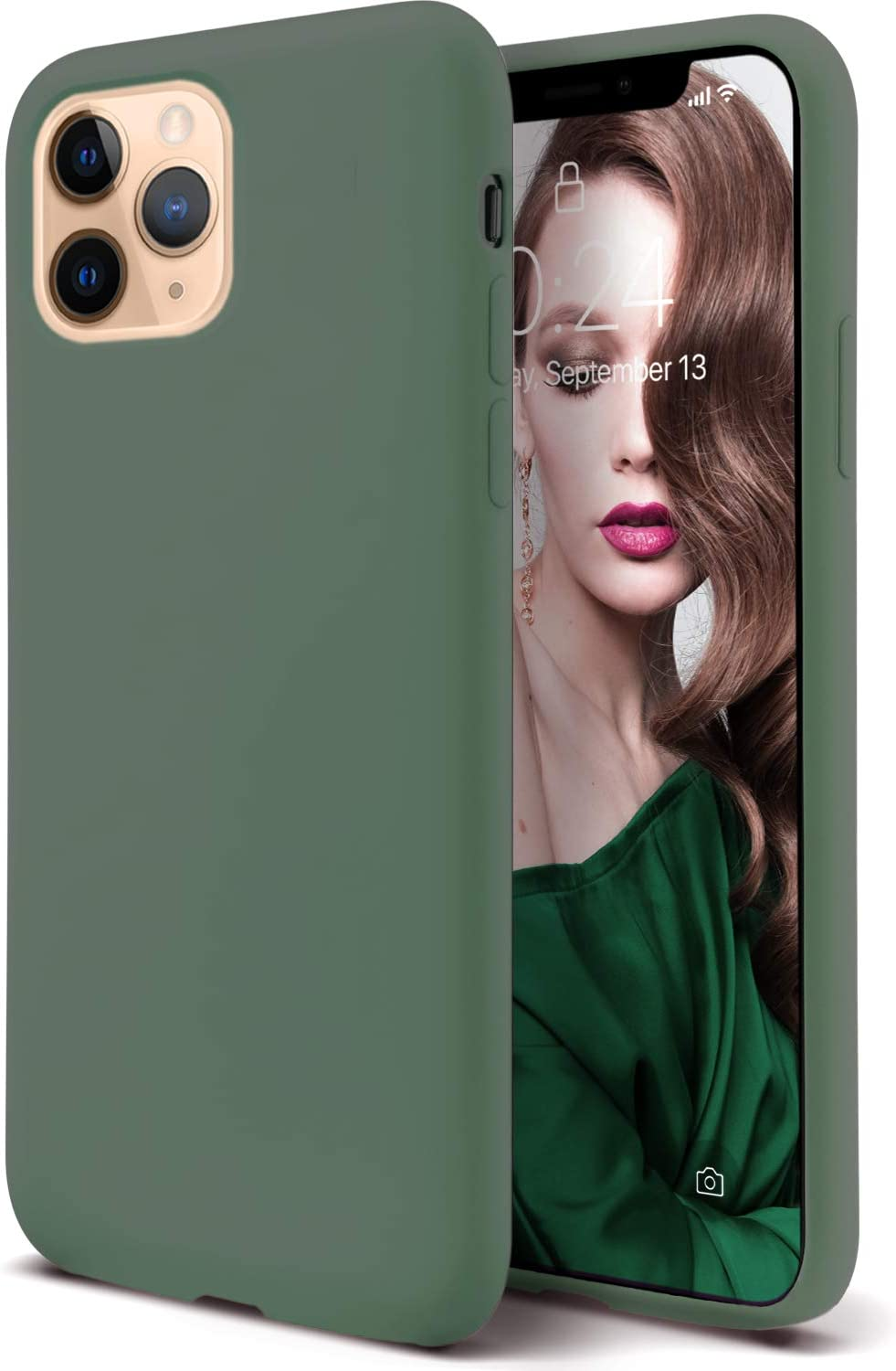 Coolwee Liquid Silicone Rubber iPhone 11 Pro Max Case Full Body Protection Shockproof Cover Drop Protection Cushion Gel Matte Women Girl Men Slim Protective Case for Apple iPhone 11 Pro Max Pine Green