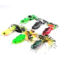 SaiDeng 6.35cm/20g Soft Bait Frog Fishing Lures with Tassel Tail Crankbaits for Bass Snakehead Random Colors